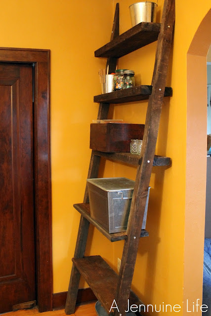 A jennuine life diy ladder shelf from reclaimed wood for Reclaimed wood portland oregon