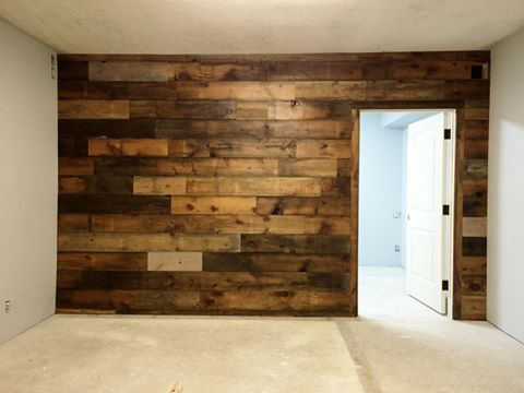Making an office space more inviting with a reclaimed lumber feature wall. - Reclamation Administration / Interior Design