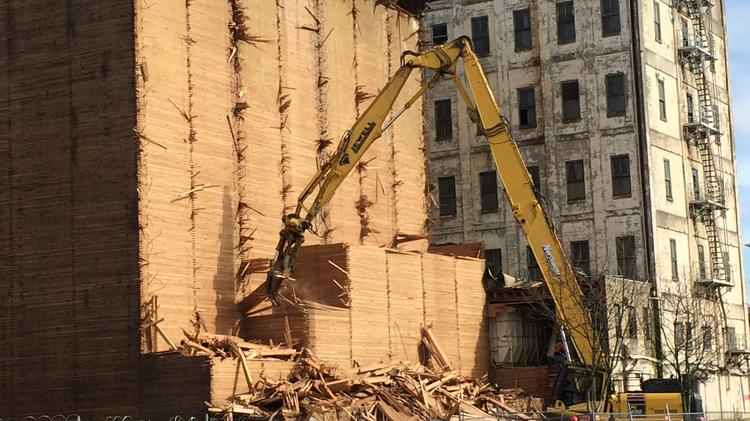 Though many of the smaller lumber boards at Centennial Mills are not being salvaged — due to their size, condition and economic worth —Pioneer Millworks is hoping to salvage at least 400,000 board feet of timber from the site.