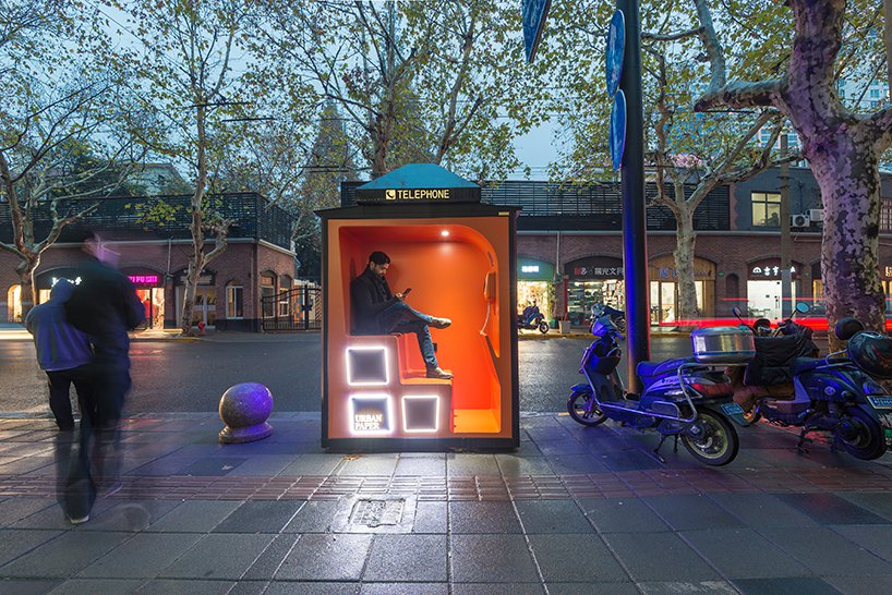 100architects transforms obsolete phonebooths into new urban landmarks in shanghai