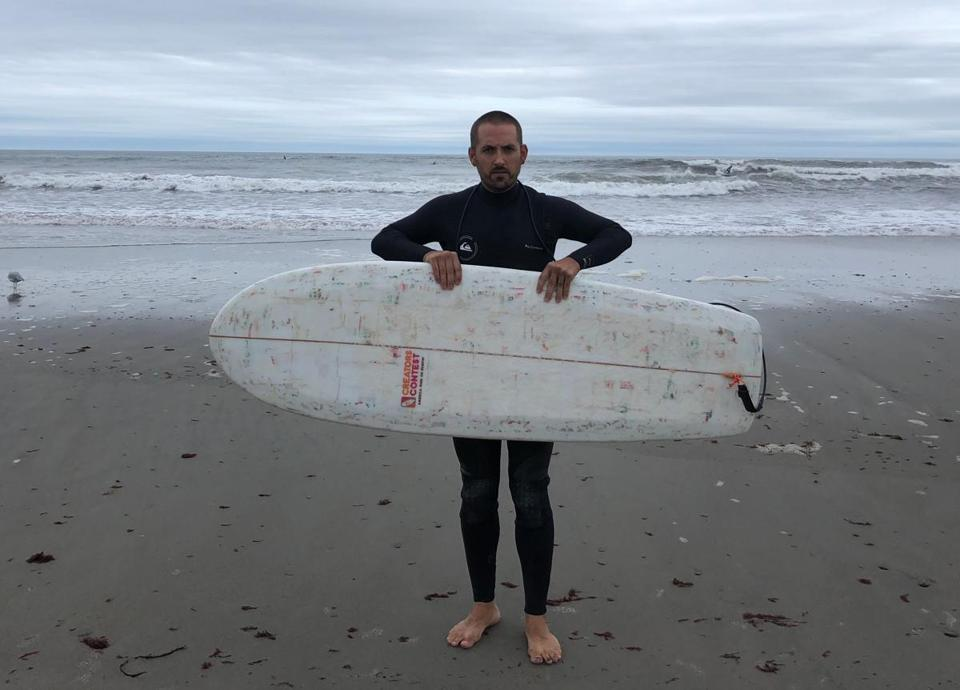Korey Nolan built an award-winning surfboard made from Dunkin' foam cups.