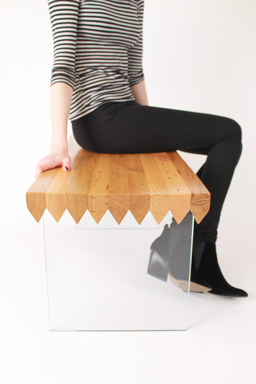 durodeco Sawtooth Bench In The Pursuit Reclaimed American Oak Wood Glass Brass