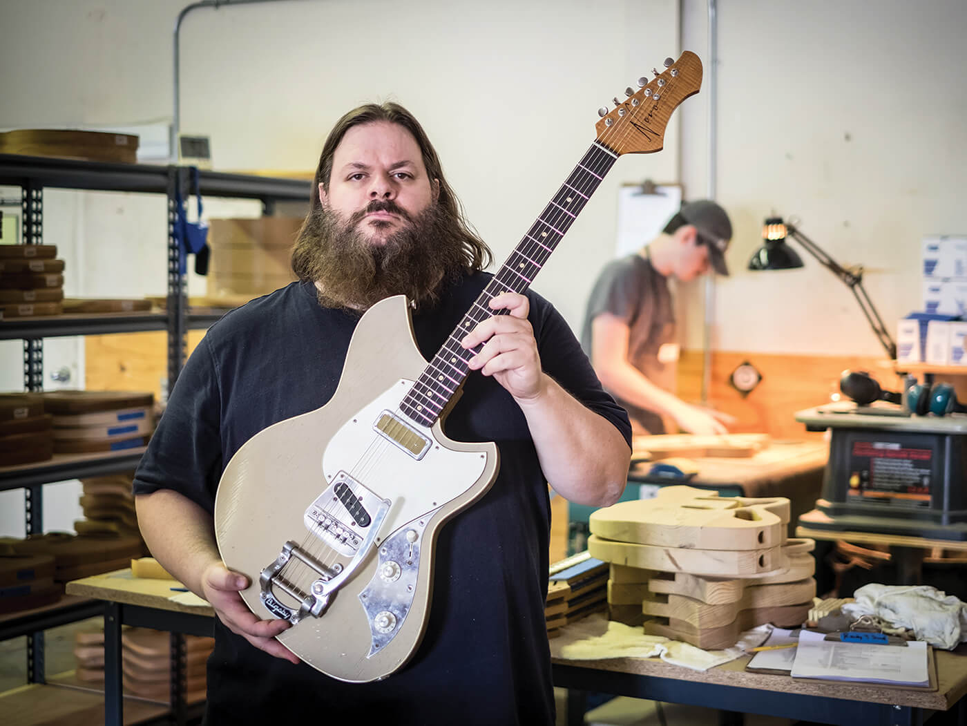 Dennis Fano with a Serus T in Novo's Nashville workshop