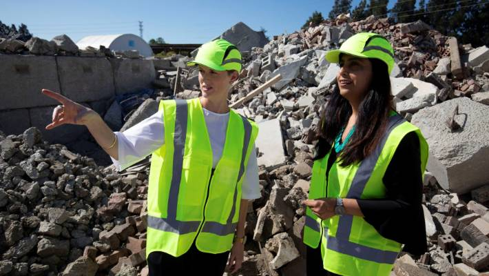 New Zealand Ecolabelling Trust general manager, Francesca Lipscombe, says the new ecolabel could be a game changer for the construction industry. She is pictured at the Waitakere Refuse and Recycling Centre with  Auckland Council manager of waste solutions Parul Sood.