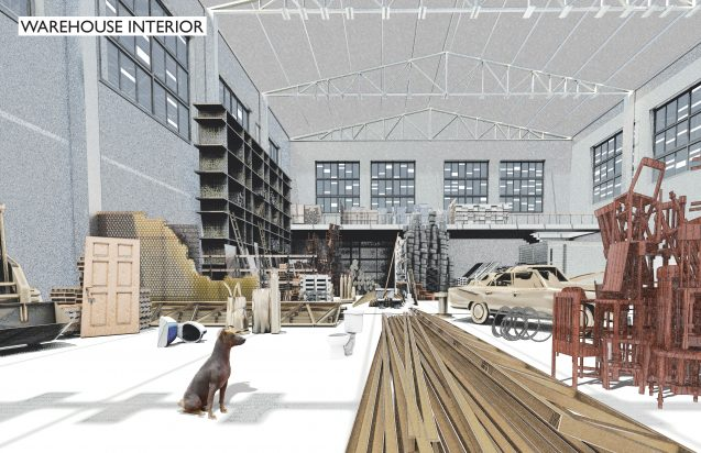 drawing shows warehouse full of materials that can be reused
