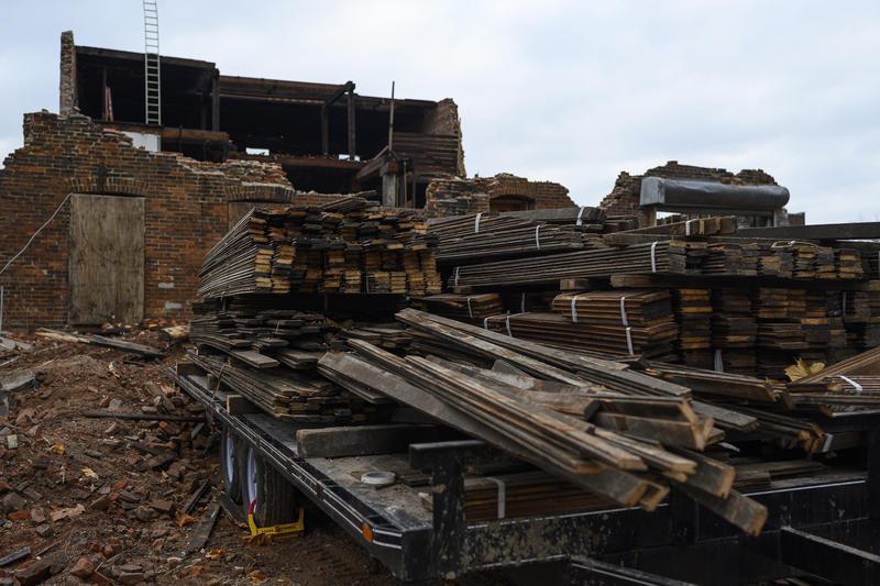 Lumber collected from a building in the Vandeventer neighborhood on Nov. 21, 2019.