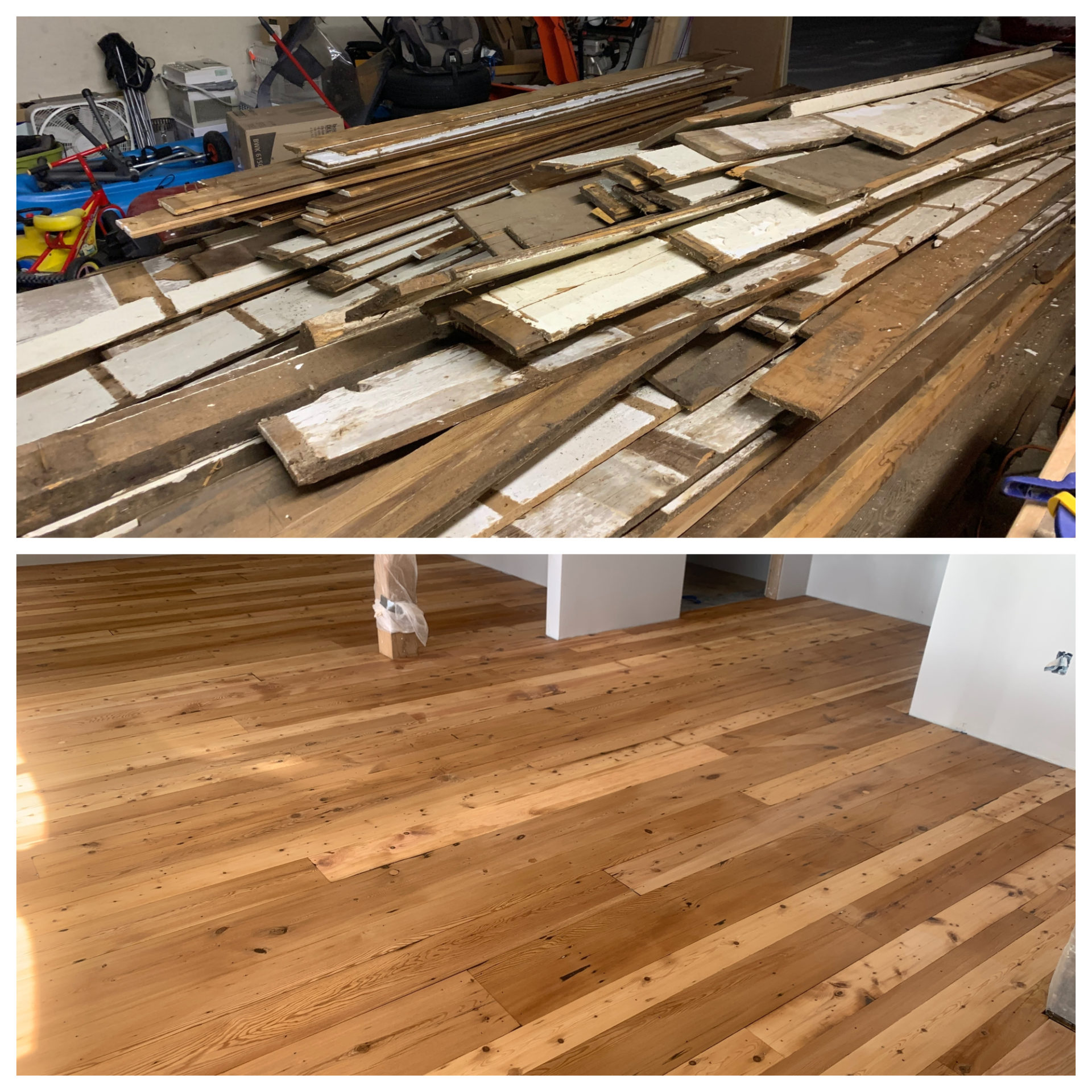 The barn's original floorboards, before and after. (Simón Rios/WBUR)