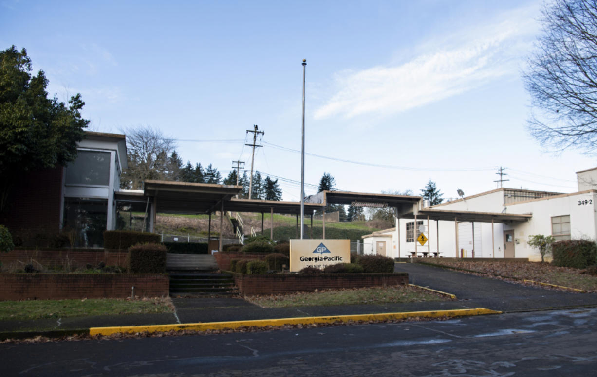 Buildings just north of the main Camas paper mill site sit vacant on Jan. 7.
