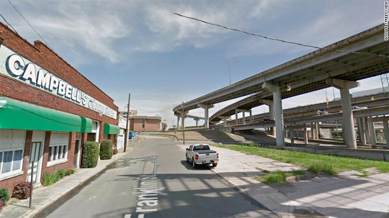 A Google Street view of Shreveport, LA downtown area abruptly ending where it meets the highway.