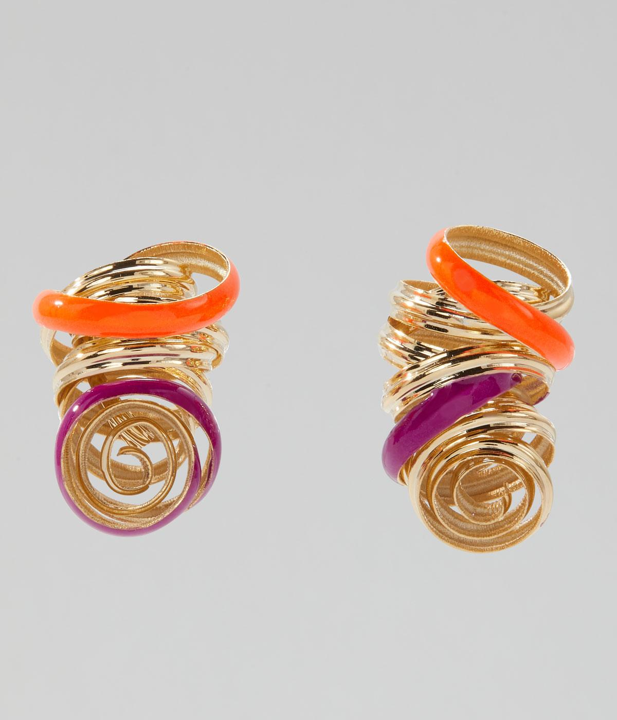 Gold-coated brass curly earrings with orange and pink on