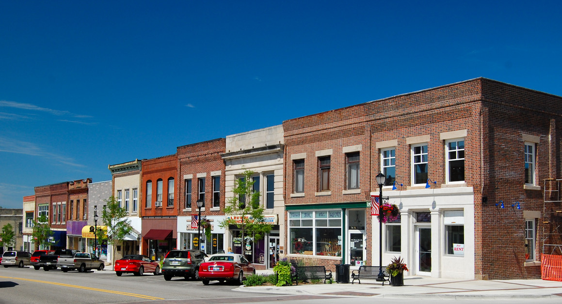A photo of downtown Harvard, Illinois, taken on July 11, 2009.